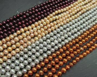 Cultured freshwater pearls, 15 inch temporary string