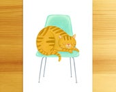 Favorite Chair - 5x7 Cat Art Print