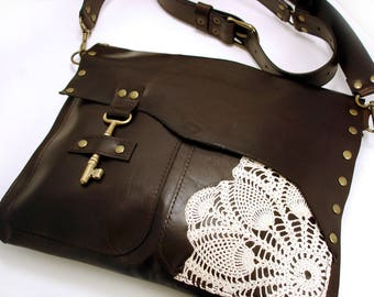 Brown Leather Crossbody Messenger with Vintage Crochet Doily and Antique Key - Boho Festival Zipper Pouch Bag MADE TO ORDER