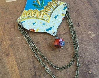 Teal and red long vintage tin necklace