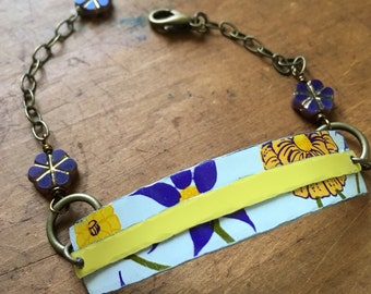 Purple and yellow floral cuff bracelet