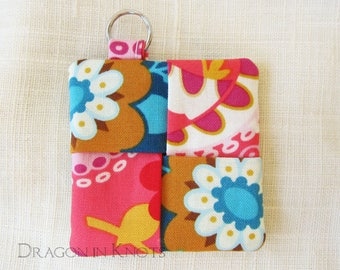 Tentacles and Flowers Earbud Pouch - bright blue and pink octopus floral keychain pocket, nautical theme, ocean animals, deep sea