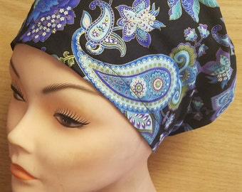 Midnight Paisley Close Fit Medical Surgical Scrub Hat Vet Nurse Chemo Euro Hat