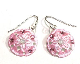Sand Dollar Earrings Pearlized Pink with White Opal Crystal Accents