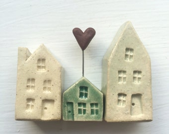 Tiny Ceramic Miniature House Trio -  Ready to Ship