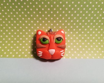 Cute Cat Jewelry, Orange Tabby Cat Pendant, Optional Necklace, Kitty Face, Cat Lover Gift, handmade polymer clay, custom orders welcome