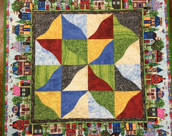 Patchwork Quilt Wallhanging, Scrappy Curves, House quilt, Small Quilt, Table Topper, Wall Quilt, PamelaQuilts, Handmade Quilt, Wall Hanging