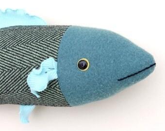 Aqua and Green herringbone wool fish pillow doll