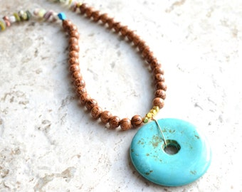 The Trixie- Turquoise Howlite and Wood Statement Necklace