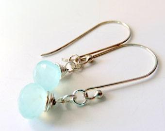 Long Pale Blue Chalcedony Drop Earrings, Modern Gemstone Earrings, Chalcedony and Sterling Silver, Wire Wrapped , Chalcedony Dangle Earrings