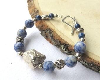 Sodalite Gemstone Bracelet, Denim Blue Fashion Bracelet, Sterling Silver Beaded Jewelry, Abstract Blue Gemstones, Pretty Gift for Her