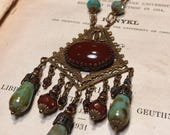Turquoise and Carnelian Czech Glass Art Nouveau Vintage Inspired Chandelier  Statement Necklace