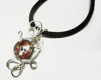 Wire Wrap Floral Skull Glass Cameo Pendant with Necklace