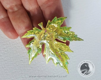 Silver Maple Leaf Brooch, Autumn Leaf Pin, Maple Leaf Pin, Leaf Jewellery, Gift Box Green Gold