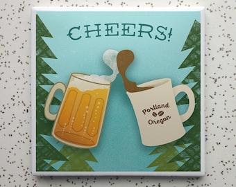 Cheers Portland Coffee and Beer Tile Coaster