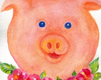Pig watercolors paintings original, Farmhouse decor, Pig with necklace of flowers,  5 x 7 Whimsical Pig art, Small animal decor,