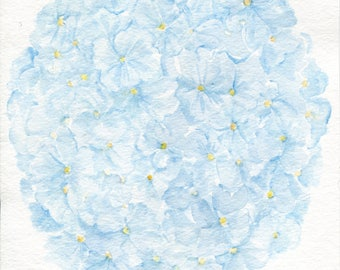 Light Blue  Hydrangea Watercolor, Original Painting 8 x 10