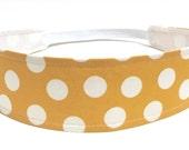 Ready To Ship - Kids Headbands, Baby Headband, Little Girls Headbands, Toddler - Yellow & White Dots - Reversible Fabric - MUSTARD DOTS