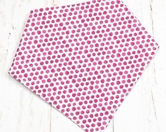 Bandana Bib, Drooler Bib, Baby Bib, Bandana Baby Bib, Bibdana for Girl - Pink, White - WATERCOLOR PINK DOTS