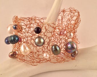 Hand crocheted beaded wire cuff bracelet