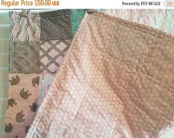 Moving Sale Jungle Jam Pink Baby Quilt - pink, aqua, grey, white 313