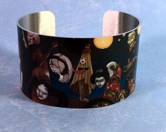 Hyakki Yako metal cuff bracelet from Jasmine Becket-Griffith Art japanese yokai horror monster kami spirits noh mask skull ghost