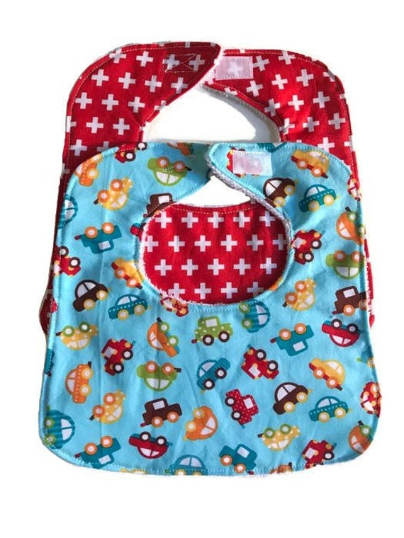 Cars Bib Set, Baby Bib Set of 2, Baby Boy Bibs, Baby Shower Gift, Drool Bib, Baby Bibs, Baby Gift