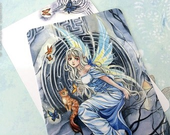 Anime Fairy Postcard | Labyrinth | Orange cat | anime art | Post Card | butterflies |
