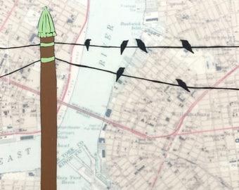 Williamsburg / 8 x 8 Map Painting / New York Art / Brooklyn Art / Map Art / Bird Art / Modern Decor / Rachel Austin Art / Modern Nursery