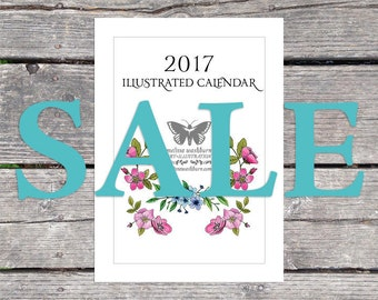 SALE - 2017 Monthly Nature Wall Calendar 6x8
