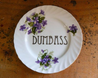 Dumbass hand painted vintage china plate with hanger recycled humor silly funny decor display eco gift