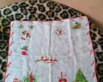 Vintage 1960s Handkerchief White Cotton Hanky Christmas Santa Noel