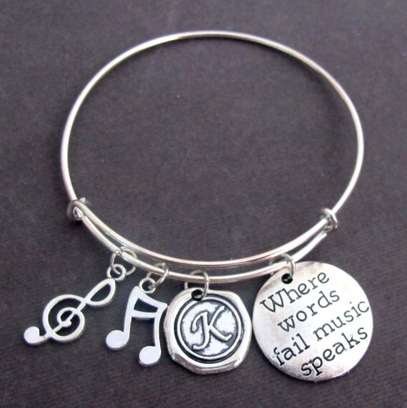 Where Words Fail Music Speaks,Music Bracelet,Music Gift,Music Lovers Jewelry,Expandable Music charms Bangle Bracelet, Free Shipping In USA