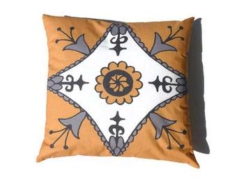 Suzani Pillow 20x20 Yellow Gray Moroccan African
