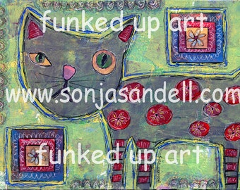 Cat Painting,Cat Canvas,Outsider Art,Mixed Media,Whimsical Art,Collage Art,Funky Art,Naive Art,Child Art,Wall Art,Original Artist Canvas