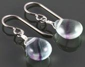 Rainbow Fluorite Earrings. Titanium Ear Wires. Sterling Silver Wire Wrapped. Green & Purple Fluorite. Single Briolette Earrings. f16e241