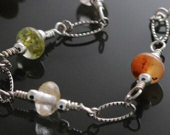 CLEARANCE. Multi Color Rutilated Quartz Bracelet. Sterling Silver. Genuine Gemstone. Natural Quartz. Autumn Colors. Size Medium. f11b003