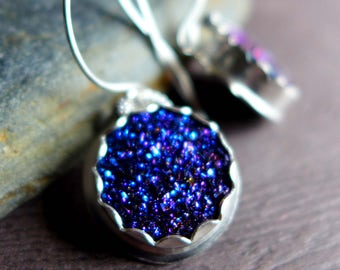 Cobalt Blue Druzy Earrings, Blue Druzy Earrings, Mother's Day Gift, Dark Blue Purple Shiny Gemstone Earrings, Titanium Druzy Earrings