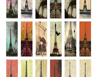 Eiffel Tower Paris - 1x3 Inch - Digital Collage Sheet - Instant Download