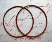 35mm Hammered Soldered Brass Hoop Findings in Paprika Orange - 1 pair - 18 gauge