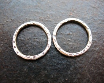 Antiqued Sterling Silver Notched Circles - 1 pair - 15mm - 16 Gauge Soldered Links