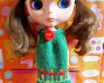 Blythe Cute Flowery Smock Dress - Green