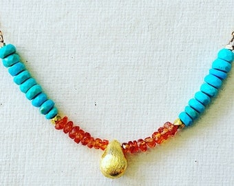 Simple Sapphire and Turquoise Necklace