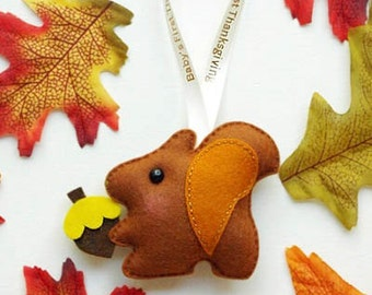 HAPPY THANKSGIVING Squirrel, Owl, Pumpkin or Cat,  Baby's First Thanksgiving, Unique Personalized Holiday Gift for FAMILY or Friends