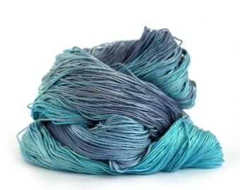 Blue 4ply silk seacell yarn, handdyed variegated skein fingering knitting crochet yarn, Perran Yarns Ocean Blue, uk, turquoise royal blue