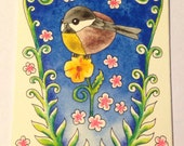 Chickadee with Fern Fronds Original Watercolor Painting