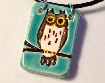 Owl with Crackle Blue Glaze Ceramic Necklace