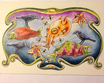 Stumpy Squid Salmon Ravens Original Art