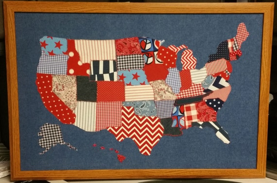 Large Framed Hand Sewn Scrap Fabric Red White Blue US Map - Large framed us map