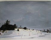 Sled Trail, Valentine's Day, Original Winter Landscape Collage Painting on Paper, Stooshinoff